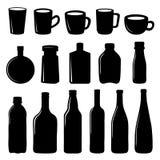 Μαύρο διανυσματικό σχέδιο εικονιδίων φλυτζανιών και μπουκαλιών ελεύθερη απεικόνιση δικαιώματος