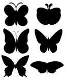 Μαύρο διανυσματικό σύνολο σκιαγραφιών πεταλούδων Στοκ εικόνες με δικαίωμα ελεύθερης χρήσης