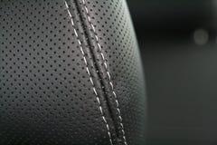 μαύρο κάθισμα πολυτέλειας δέρματος αυτοκινήτων Στοκ Εικόνες