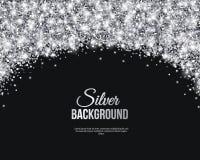 Μαύρο και ασημένιο έμβλημα, ευχετήρια κάρτα Στοκ εικόνες με δικαίωμα ελεύθερης χρήσης