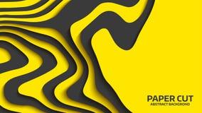 Μαύρο και κίτρινο κύμα η αφηρημένη ανασκόπηση έκοψε το διάνυσμα εγγράφου Αφηρημένα ζωηρόχρωμα κύματα εμβλήματα κυματιστά Γεωμετρι Στοκ φωτογραφία με δικαίωμα ελεύθερης χρήσης