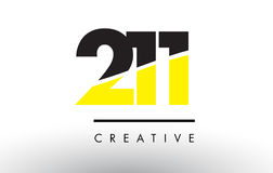 211 μαύρο και κίτρινο σχέδιο λογότυπων αριθμού διανυσματική απεικόνιση