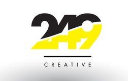 249 μαύρο και κίτρινο σχέδιο λογότυπων αριθμού Στοκ Φωτογραφία