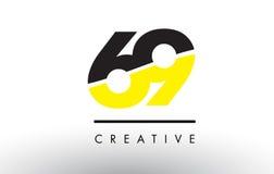 69 μαύρο και κίτρινο σχέδιο λογότυπων αριθμού διανυσματική απεικόνιση