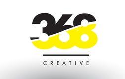 368 μαύρο και κίτρινο σχέδιο λογότυπων αριθμού Στοκ Φωτογραφίες
