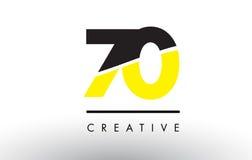 70 μαύρο και κίτρινο σχέδιο λογότυπων αριθμού διανυσματική απεικόνιση