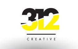 312 μαύρο και κίτρινο σχέδιο λογότυπων αριθμού διανυσματική απεικόνιση