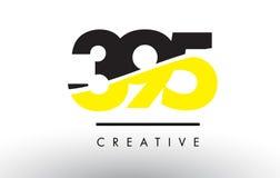 395 μαύρο και κίτρινο σχέδιο λογότυπων αριθμού Απεικόνιση αποθεμάτων