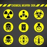 Μαύρο και κίτρινο χημικό όπλο στο διανυσματικό καθορισμένο σχέδιο σημαδιών κύκλων Στοκ εικόνα με δικαίωμα ελεύθερης χρήσης