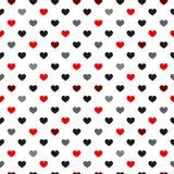 Μαύρο και κόκκινο άνευ ραφής σχέδιο καρδιών ζωηρόχρωμες καρδιές Σχέδιο συσκευασίας για το περικάλυμμα δώρων Αφηρημένο γεωμετρικό  ελεύθερη απεικόνιση δικαιώματος