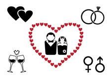 Μαύρο και κόκκινο γαμήλιο σύνολο r διανυσματική απεικόνιση