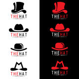 Μαύρο και κόκκινο διανυσματικό καθορισμένο σχέδιο λογότυπων καπέλων Στοκ Εικόνα