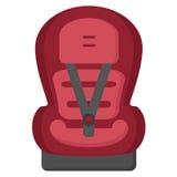 Μαύρο και κόκκινο κάθισμα αυτοκινήτων μωρών, μπροστινή άποψη που απομονώνεται σε ένα άσπρο υπόβαθρο επίσης corel σύρετε το διάνυσ Στοκ Εικόνες