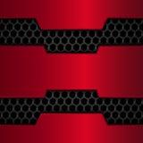Μαύρο και κόκκινο υπόβαθρο μετάλλων Κόκκινο χρώμιο Δίκτυο μετάλλων στενή κυψελωτή εικόνα ανασκόπησης επάνω επίσης corel σύρετε το Στοκ Φωτογραφίες