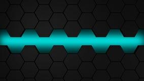 Μαύρο και μπλε hexagons σύγχρονο υπόβαθρο Στοκ Εικόνα