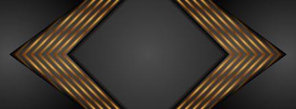 Μαύρο και χρυσό έμβλημα τεχνολογίας βελών αφηρημένο ελεύθερη απεικόνιση δικαιώματος
