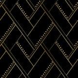 Μαύρο και χρυσό γεωμετρικό άνευ ραφής σχέδιο πολυτέλειας Στοκ φωτογραφίες με δικαίωμα ελεύθερης χρήσης