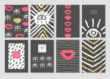 Μαύρο και χρυσό πρότυπο καρτών σχεδίου που τίθεται με τα χείλια και τα μάτια Αφηρημένη κάλυψη φυλλάδιων εμβλημάτων αφισών Στοκ εικόνες με δικαίωμα ελεύθερης χρήσης