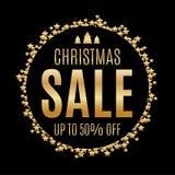 Μαύρο και χρυσό υπόβαθρο πώλησης Χριστουγέννων Στοκ Φωτογραφίες