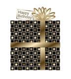 Μαύρο και χρυσό δώρο με τη χρυσά κορδέλλα και το τόξο Στοκ φωτογραφίες με δικαίωμα ελεύθερης χρήσης