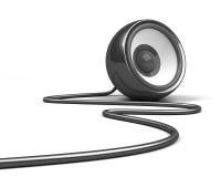 μαύρο καλώδιο ανασκόπησης πέρα από το λευκό ομιλητών Στοκ Εικόνες