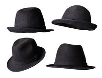 μαύρο καπέλο που απομονών& Στοκ Εικόνα