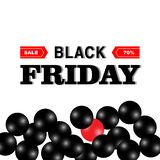 Μαύρο κείμενο εμβλημάτων πώλησης Παρασκευής με το λαμπρό μαύρο και κόκκινο μπαλόνι ελεύθερη απεικόνιση δικαιώματος