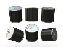 Μαύρο κενό δοχείο κασσίτερου τροφίμων με την ετικέττα τραβήγματος, πορεία ψαλιδίσματος συμπεριλαμβανόμενη Στοκ εικόνες με δικαίωμα ελεύθερης χρήσης
