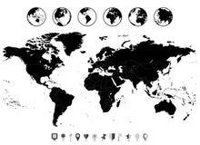 Μαύρο κενό παγκόσμιων χαρτών που απομονώνεται στο άσπρο και επίπεδο εικονίδιο ναυσιπλοΐας Στοκ Εικόνες