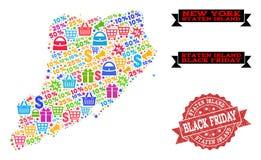 Μαύρο κολάζ Παρασκευής του χάρτη μωσαϊκών του νησιού Staten και του γρατσουνισμένου γραμματοσήμου διανυσματική απεικόνιση