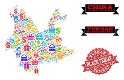 Μαύρο κολάζ Παρασκευής του χάρτη μωσαϊκών της επαρχίας Yunnan και του γραμματοσήμου Grunge διανυσματική απεικόνιση
