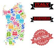 Μαύρο κολάζ Παρασκευής του χάρτη μωσαϊκών της περιοχής της Σαρδηνίας και του γραμματοσήμου Grunge ελεύθερη απεικόνιση δικαιώματος