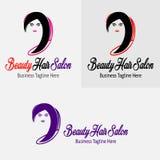Μαύρο κομμωτήριο κοριτσιών ομορφιάς με την όμορφη διανυσματική σκιαγραφία λογότυπων κοριτσιών Στοκ εικόνες με δικαίωμα ελεύθερης χρήσης