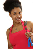 Μαύρο κορίτσι με ένα πηδώντας σχοινί Στοκ Φωτογραφία