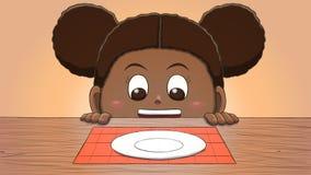 Μαύρο κορίτσι που εξετάζει το κενό πιάτο Στοκ εικόνα με δικαίωμα ελεύθερης χρήσης