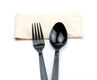 Μαύρο κουτάλι και μαύρο δίκρανο Στοκ Φωτογραφία