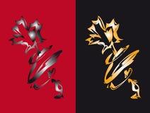 μαύρο κόκκινο δύο λουλ&omicron Διανυσματική απεικόνιση