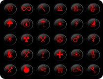 μαύρο κόκκινο κουμπιών Στοκ Εικόνες