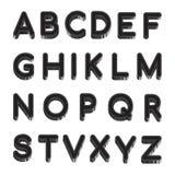 Μαύρο λατινικό αλφάβητο επιστολών που απομονώνεται στο άσπρο υπόβαθρο Διανυσματικό αγγλικό αλφάβητο δειγμάτων απεικόνισης Στοκ Εικόνα