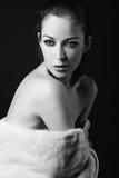 μαύρο λεπτό λευκό πορτρέτου τέχνης Στοκ φωτογραφία με δικαίωμα ελεύθερης χρήσης