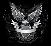 μαύρο λευκό αετών φτερωτό Στοκ Εικόνες
