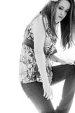 μαύρο λευκό κοριτσιών μόδ&alph Στοκ Φωτογραφίες
