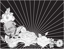 μαύρο λευκό λουλουδιώ& απεικόνιση αποθεμάτων