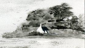 μαύρο λευκό νησιών εξοχικ διανυσματική απεικόνιση