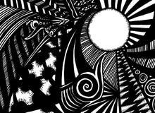 μαύρο λευκό doodle Στοκ Εικόνες