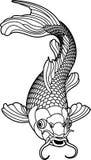 μαύρο λευκό koi ψαριών κυπρίν&omeg ελεύθερη απεικόνιση δικαιώματος