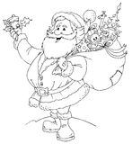 μαύρο λευκό santa Claus απεικόνιση αποθεμάτων