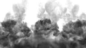 Μαύρο μελάνι στο νερό στο άσπρο υπόβαθρο τρισδιάστατο μελάνι ζωτικότητας με τη μεταλλίνη luma ως άλφα κανάλι για τα αποτελέσματα  απεικόνιση αποθεμάτων