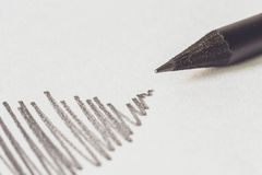 Μαύρο μολύβι με το κτύπημα Στοκ Εικόνες