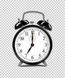 Μαύρο ξυπνητήρι που απομονώνεται στο διαφανές υπόβαθρο διανυσματική ρεαλιστική απεικόνιση διανυσματική απεικόνιση